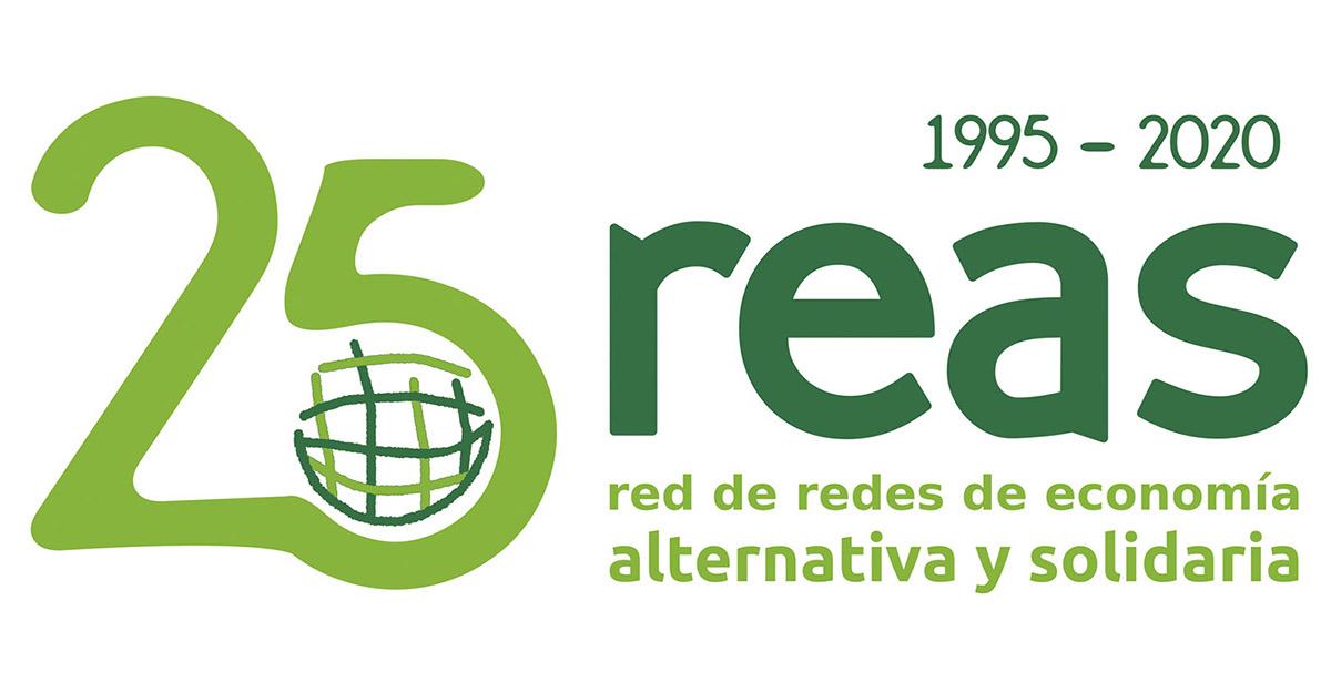 Logo del 25 aniversari de REAS, xarxa de xarxes d'economia alternativa i solidària 1995-2020